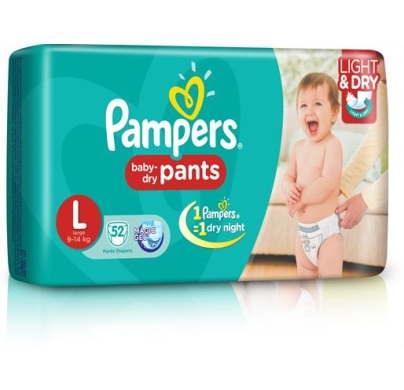 Pampers baby dry Pants Large 9-14 kg 52pcs